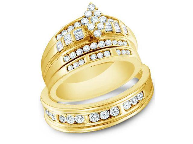 14k Yellow Gold Trio 3 Three Ring Matching Engagement Wedding Ring Band Set - Round and Baguette Diamonds - Marquise Shape Center Setting w/ Side Stones (1.15 cttw, H Color, I1 Clarity)