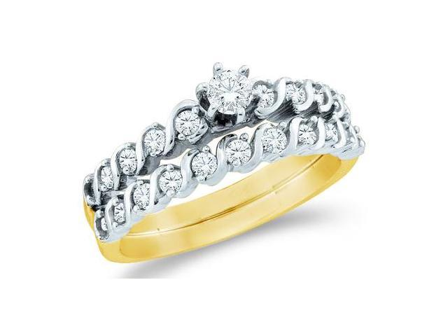 14k Yellow Gold Diamond Ladies Engagement Ring Wedding Band Two 2 Ring Set Small Solitaire Side Stones Channel Set Round Brilliant Cut Diamond Ring  (1/2 cttw, G - H Color, SI2 Clarity)