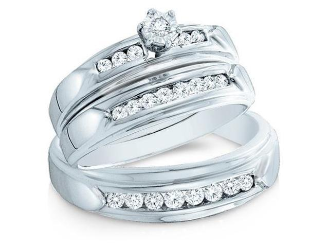 14k White Gold Trio 3 Three Ring Matching Engagement Wedding Ring Band Set - Round Diamonds - Round Shape Center Setting w/ Side Stones (.43 cttw, H Color, I1 Clarity)