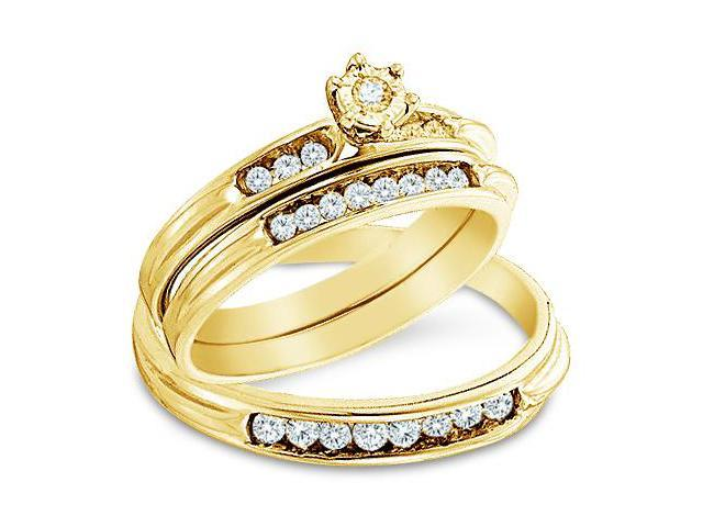 14k Yellow Gold Trio 3 Three Ring Matching Engagement Wedding Ring Band Set - Round Diamonds - Solitaire Center Setting w/ Side Stones (2/5 cttw, H Color, I1 Clarity)