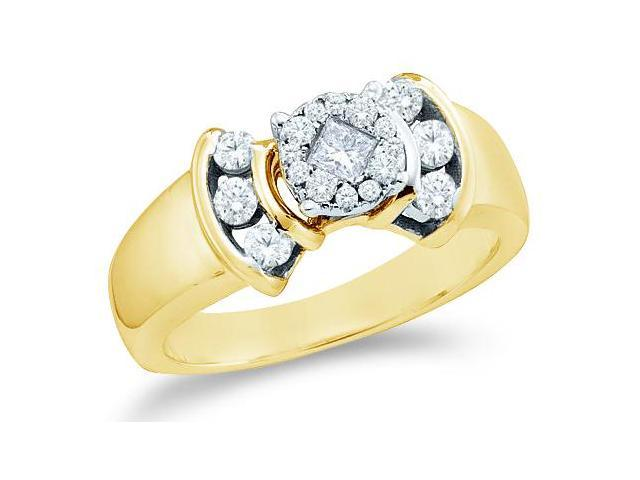 14k Yellow Gold Diamond Engagement Invisible Solitaire Style Center Setting Channel Set Side Stones Princess and Round Brilliant Cut Diamond Ring  (1/2 cttw, G - H Color, SI2 Clarity)