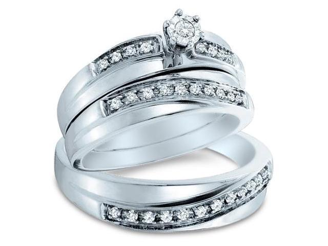 14k White Gold Trio 3 Three Ring Matching Engagement Wedding Ring Band Set - Round Diamonds - Solitaire Center Setting w/ Side Stones (1/4 cttw, H Color, I1 Clarity)