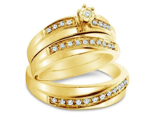 14k Yellow Gold Trio 3 Three Ring Matching Engagement Wedding Ring Band Set - Round Diamonds - Solitaire Center Setting w/ Side Stones (1/4 cttw, H Color, I1 Clarity)