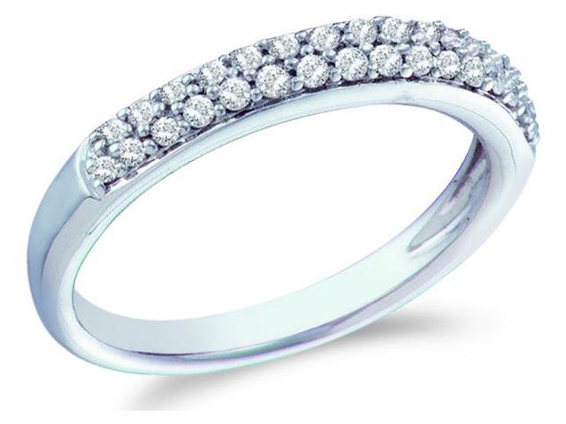 14k White Gold Round Cut Diamond Ladies Womens Two Row Wedding or Anniversary Ring Band (1/4 cttw, G - H Color, I1 Clarity)