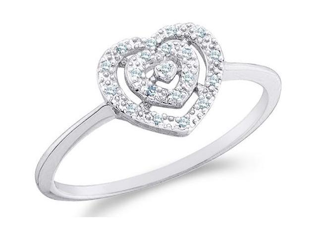 10k White Gold Heart Love Shape Center Pave Setting Round Cut Ladies Diamond Engagement Cocktail Ring Band 9mm (.04 cttw, H Color, I1 Clarity)
