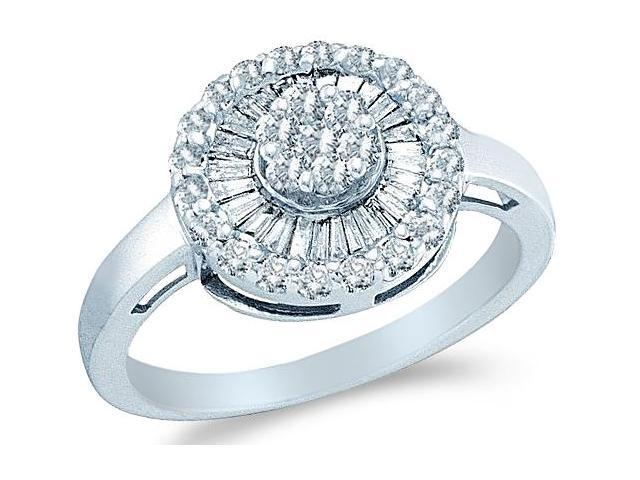 14k White Gold Round Shape Center Channel Set Round Cut & Baguette Ladies Diamond Engagement Cocktail Ring Band  (2/3 cttw, H Color, I1 Clarity)
