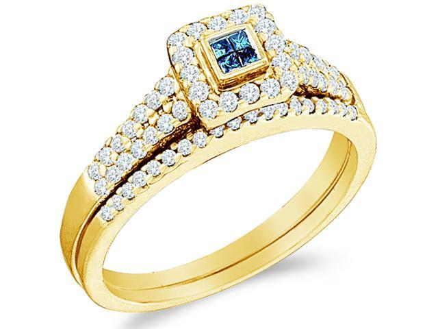 14k Yellow Gold Diamond Blue and White Diamond Engagement Ring Wedding Band Two 2 Ring Set Solitaire Style Center Setting Halo Diamond Ring  (.53 cttw, H Color, I1 Clarity)