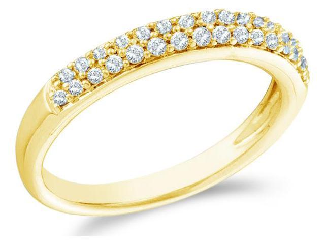 14k Yellow Gold Round Cut Diamond Ladies Womens Two Row Wedding or Anniversary Ring Band (1/4 cttw, G - H Color, I1 Clarity)