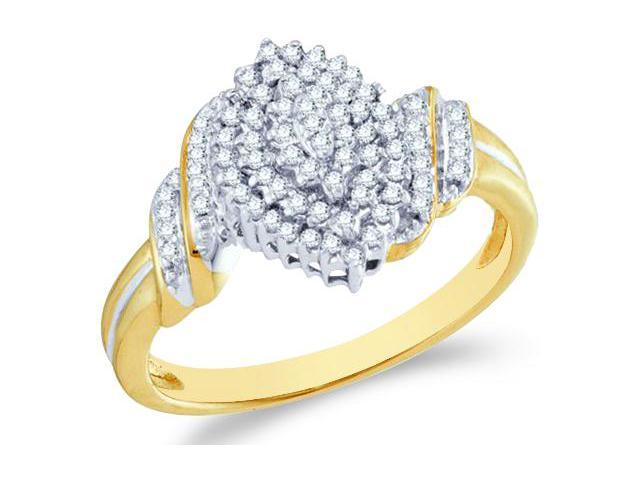 10k Yellow and White Two 2 Tone Gold Marquise Shape Center Cluster Setting Round Cut Ladies Diamond Engagement Cocktail Ring Band  (1/4 cttw, H Color, I1 Clarity)