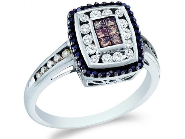 14k White Gold Black, Brown Chocolate & White Diamond Emerald Shape Center Princess and Round Cut Womens Diamond Engagement ...