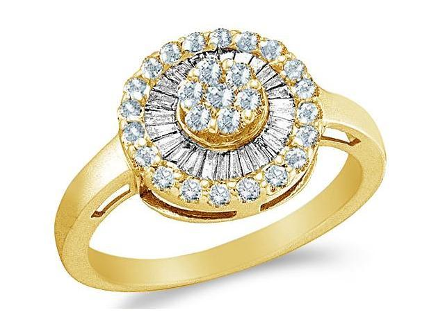14k Yellow Gold Round Shape Center Channel Set Round Cut & Baguette Ladies Diamond Engagement Cocktail Ring Band  (2/3 cttw, H Color, I1 Clarity)