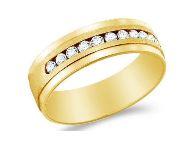 14k Yellow Gold Traditional High Polish & Satin Finish Channel Set Round Cut Mens Diamond Wedding Ring Band (1/4 cttw, H Color, I1 Clarity)