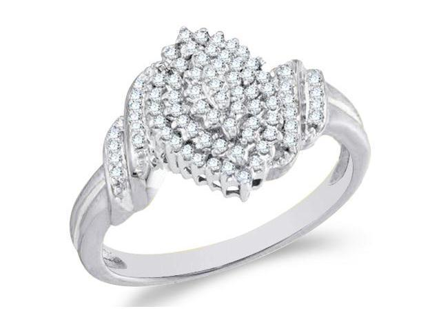 10k White and Yellow Two 2 Tone Gold Marquise Shape Center Cluster Setting Round Cut Ladies Diamond Engagement Cocktail Ring Band  (1/4 cttw, H Color, I1 Clarity)