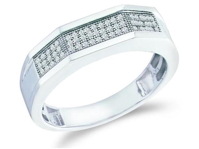 10k White Gold Three 3 Row Micro Pave Set Round Cut Mens Diamond Wedding Ring Band (1/5 cttw, H Color, I1 Clarity)