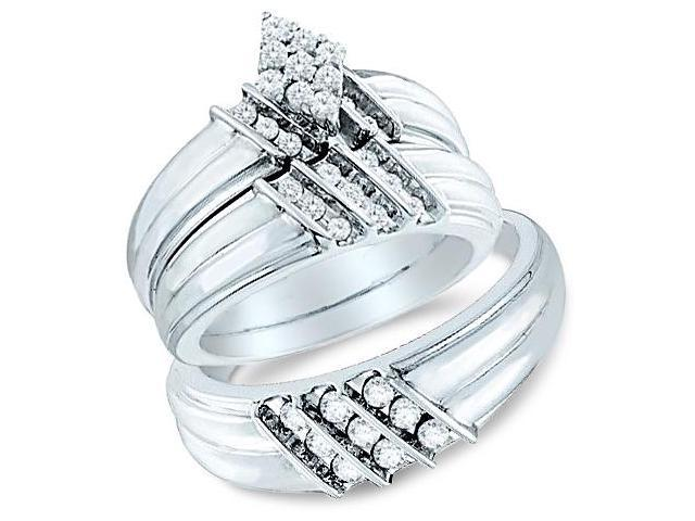 14k White Gold Trio 3 Three Ring Matching Engagement Wedding Ring Band Set - Round Diamonds - Marquise Shape Center Setting w/ Side Stones (3/4 cttw, H Color, I1 Clarity)