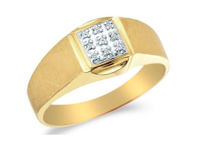 10k Yellow and White Two 2 Tone Gold Nine 9 Stone Satin Finish Pave Set Round Cut Mens Diamond Wedding Ring Band (.03 cttw, H Color, I1 Clarity)