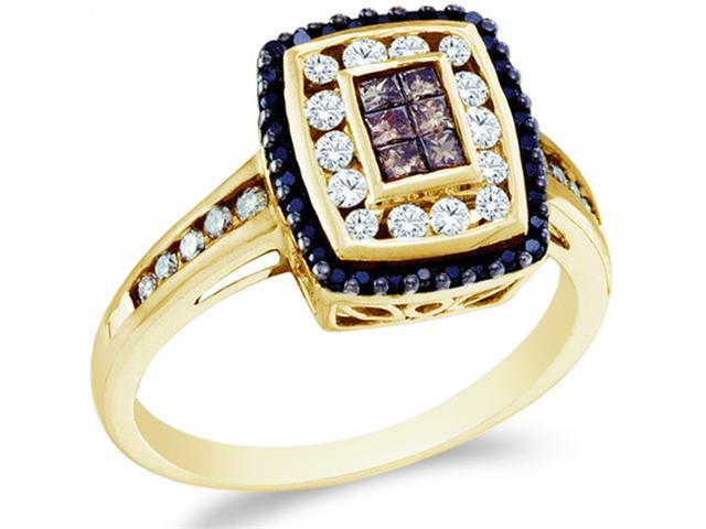 14k Yellow Gold Black, Brown Chocolate & White Diamond Emerald Shape Center Princess and Round Cut Womens Diamond Engagement Wedding Fashion Ring Band  (1/2 cttw, H Color, I1 Clarity)