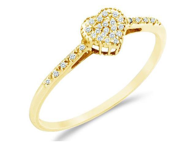 10k Yellow Gold Heart Love Shape Center Pave Setting Round Cut Ladies Diamond Engagement Cocktail Ring Band 6mm (.07 cttw, H Color, I1 Clarity)