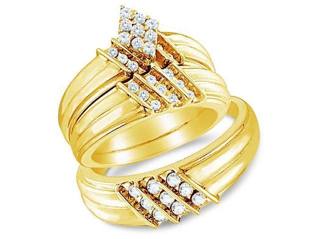 14k Yellow Gold Trio 3 Three Ring Matching Engagement Wedding Ring Band Set - Round Diamonds - Marquise Shape Center Setting w/ Side Stones (3/4 cttw, H Color, I1 Clarity)