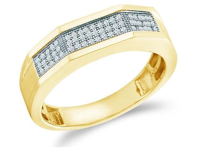 10k Yellow Gold Three 3 Row Micro Pave Set Round Cut Mens Diamond Wedding Ring Band (1/5 cttw, H Color, I1 Clarity)