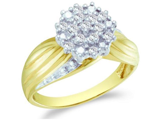 10k Yellow and White Two 2 Tone Gold Round Shape Center Cluster Setting Round Cut Ladies Diamond Engagement Cocktail Ring Band  (1/5 cttw, H Color, I1 Clarity)