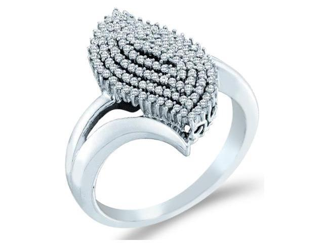 10k White Gold Cluster Design Round Cut Ladies Diamond Engagement Cocktail Ring Band  (2/5 cttw, H Color, I1 Clarity)