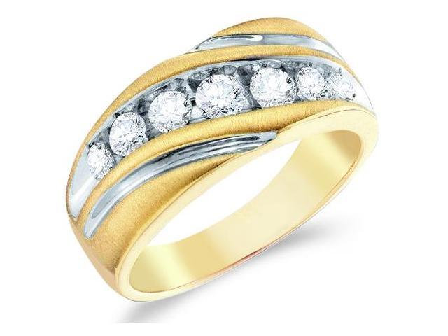 10k Yellow and White Two 2 Tone Gold Large Seven 7 Stone Satin Finish Channel Set Round Cut Mens Diamond Wedding Ring Band 10mm (1.0 cttw, H Color, I1 Clarity)