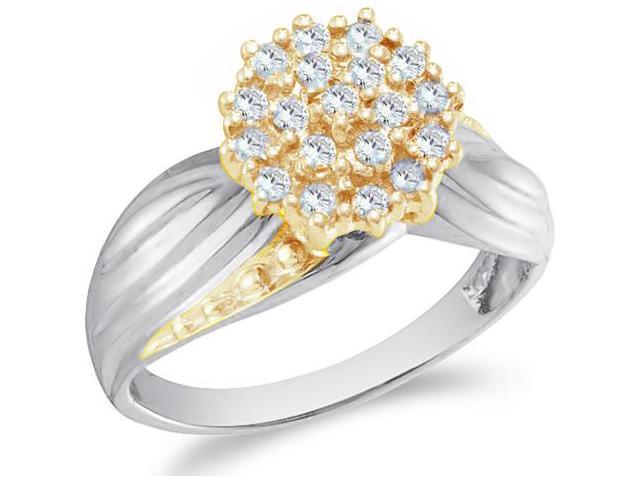10k White and Yellow Two 2 Tone Gold Round Shape Center Cluster Setting Round Cut Ladies Diamond Engagement Cocktail Ring Band  (1/5 cttw, H Color, I1 Clarity)