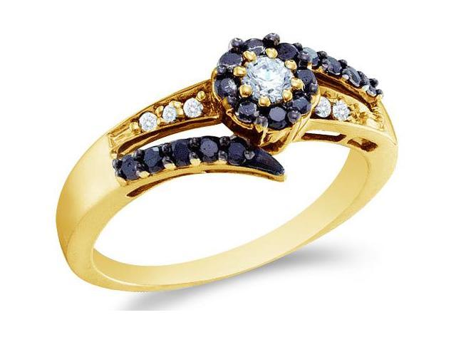 14k Yellow Gold Black and White Diamond Solitaire Style Channel Set Side Stones Round Cut Ladies Diamond Engagement Wedding Anniversary Fashion Ring Band  (1/2 cttw, H Color, I1 Clarity)