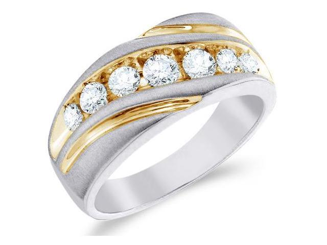10k White and Yellow Two 2 Tone Gold Large Seven 7 Stone Satin Finish Channel Set Round Cut Mens Diamond Wedding Ring Band 10mm (1.0 cttw, H Color, I1 Clarity)