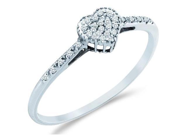 10k White Gold Heart Love Shape Center Pave Setting Round Cut Ladies Diamond Engagement Cocktail Ring Band 6mm (.07 cttw, H Color, I1 Clarity)