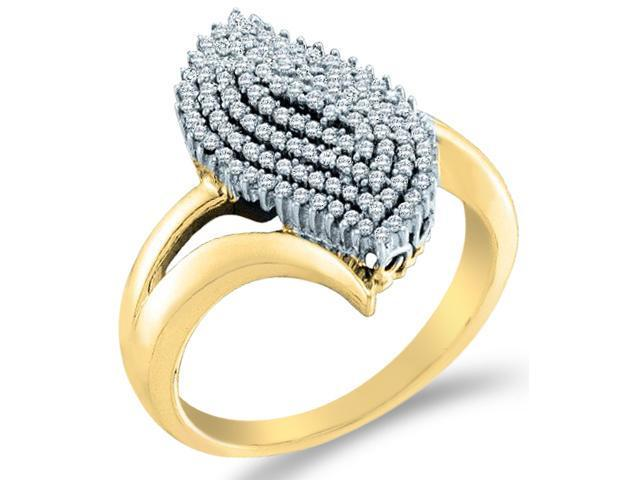 10k Yellow Gold Cluster Design Round Cut Ladies Diamond Engagement Cocktail Ring Band  (2/5 cttw, H Color, I1 Clarity)