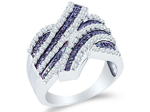 10k White Gold Blue and White Diamond Channel Set Round Cut Womens Diamond Wedding Anniversary Fashion Ring Band  (1.03 cttw, H Color, I1 Clarity)