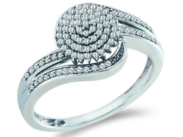 10k White Gold Round Shape Center w/ Cluster Pave Setting Round Cut Ladies Diamond Engagement Fashion Ring Band  (.30 cttw, H Color, I1 Clarity)