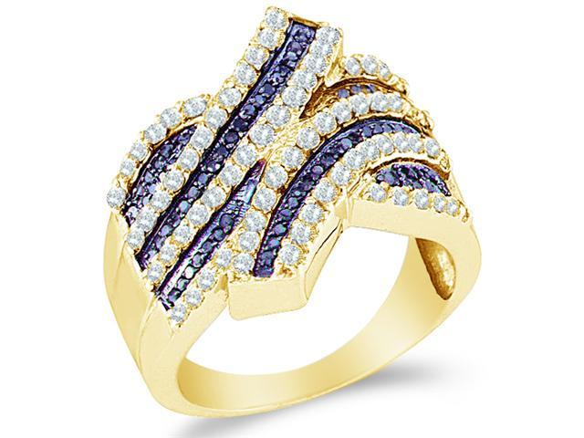 10k Yellow Gold Blue and White Diamond Channel Set Round Cut Womens Diamond Wedding Anniversary Fashion Ring Band  (1.03 cttw, H Color, I1 Clarity)