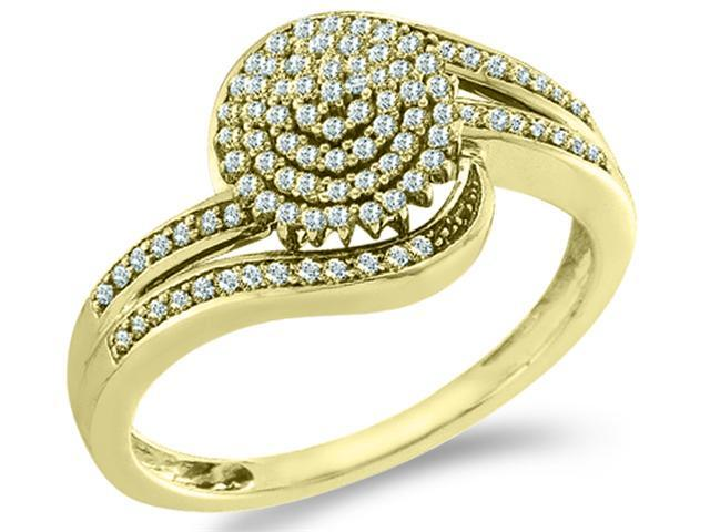 10k Yellow Gold Round Shape Center w/ Cluster Pave Setting Round Cut Ladies Diamond Engagement Fashion Ring Band  (.30 cttw, H Color, I1 Clarity)