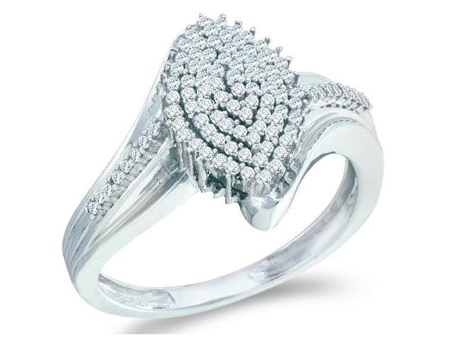 10k White Gold Marquise Shape Center w/ Cluster Pave Setting Round Cut Ladies Diamond Engagement Ring Band  (.30 cttw, H Color, I1 Clarity)