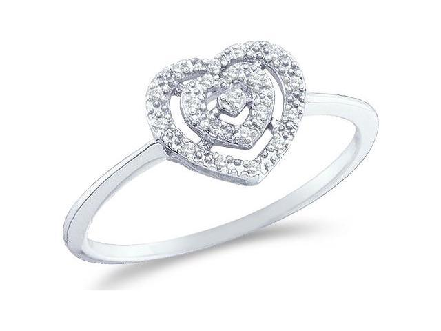 10k White Gold Heart Love Shape Center Pave Setting Round Cut Ladies Diamond Engagement Cocktail Ring Band  (.04 cttw, H Color, I1 Clarity)