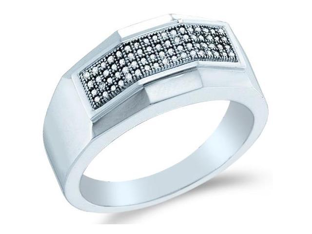 10k White Gold Four 4 Row Micro Pave Set Round Cut Mens Diamond Wedding Ring Band (1/5 cttw, H Color, I1 Clarity)