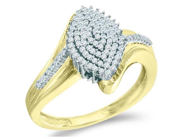 10k Yellow Gold Marquise Shape Center w/ Cluster Pave Setting Round Cut Ladies Diamond Engagement Ring Band  (.30 cttw, H Color, I1 Clarity)