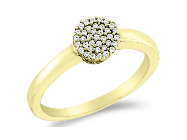 10k Yellow Gold Diamond Engagement Solitaire Style Center Setting Pave Set Round Brilliant Cut Diamond Ring  (1/8 cttw, H Color, I1 Clarity)