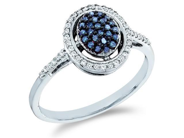 10k White Gold Oval Shape Center Cluster Style w/ Blue Diamonds Round Cut Ladies Diamond Engagement Anniversary Ring Band  (1/4 cttw, H Color, I1 Clarity)
