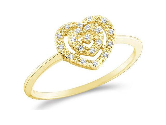 10k Yellow Gold Heart Love Shape Center Pave Setting Round Cut Ladies Diamond Engagement Cocktail Ring Band  (.04 cttw, H Color, I1 Clarity)