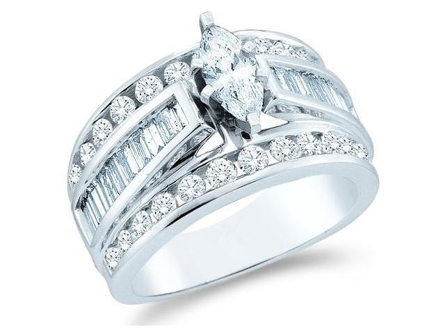 14k White Gold Diamond Engagement Wedding Solitaire with Side Stones Channel Set Large Marquise , Round & Baguette Cut Diamond Ring  (3.0 cttw, 3/4 ct Center, G - H Color, SI2 Clarity)