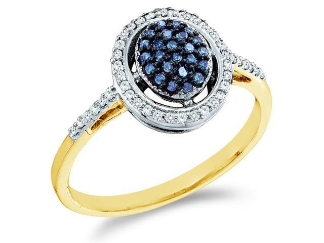 10k Yellow Gold Oval Shape Center Cluster Style w/ Blue Diamonds Round Cut Ladies Diamond Engagement Anniversary Ring Band  (1/4 cttw, H Color, I1 Clarity)