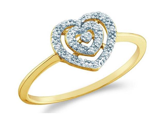 10k Yellow Gold Heart Love Shape Center Pave Setting Round Cut Ladies Diamond Engagement Cocktail Ring Band 9mm (.04 cttw, H Color, I1 Clarity)