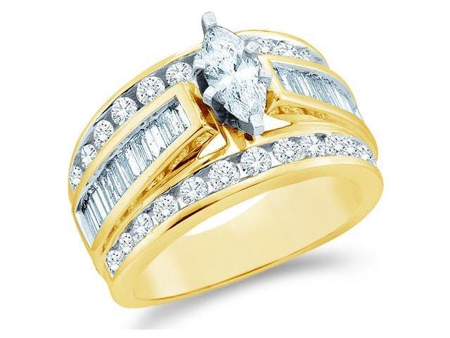 14k Yellow Gold Diamond Engagement Wedding Solitaire with Side Stones Channel Set Large Marquise , Round & Baguette Cut Diamond Ring  (3.0 cttw, 3/4 ct Center, G - H Color, SI2 Clarity)