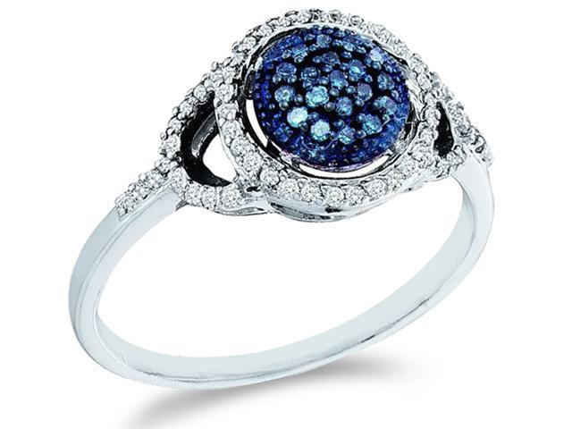 10k White Gold Round Shape Center Cluster Style w/ Blue Diamonds Round Cut Ladies Diamond Engagement Anniversary Ring Band  (1/4 cttw, H Color, I1 Clarity)