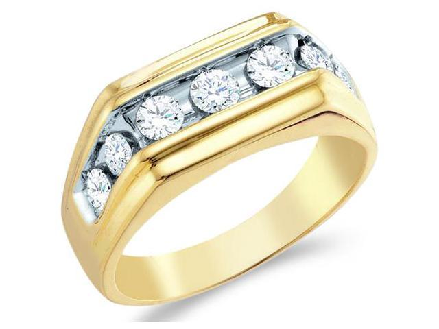 10k Yellow and White Two 2 Tone Gold Large Seven 7 Stone Classic Channel Set Round Cut Mens Diamond Wedding Ring Band 9mm (1.0 cttw, H Color, I1 Clarity)