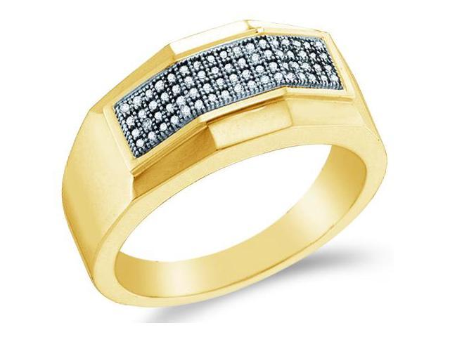 10k Yellow Gold Four 4 Row Micro Pave Set Round Cut Mens Diamond Wedding Ring Band (1/5 cttw, H Color, I1 Clarity)